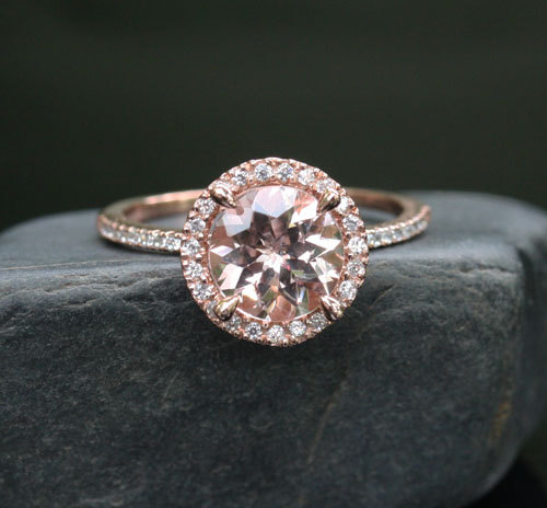 morganite engagement ring rose gold morganite ring in 14k rose gold with diamond halo and morganite round 8mm - Non Diamond Wedding Rings