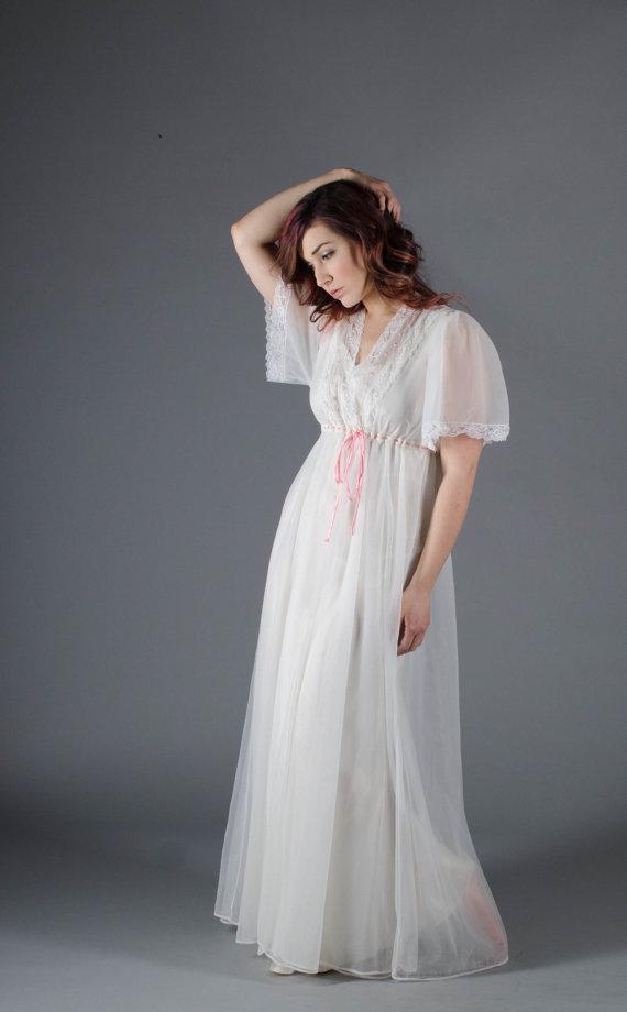 Свадьба - Vintage 1960s Sheer Robe - 60s Lingerie - Dream Away Robe
