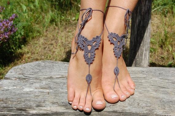 Свадьба - Crochet Barefoot Sandals, Beach Shoes, Wedding Accessories, Nude Shoes, Yoga socks, Foot Jewelry