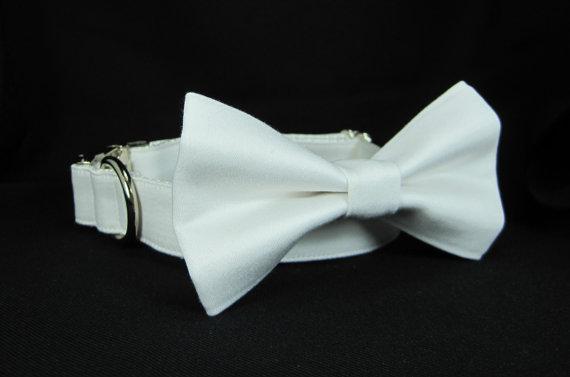 Свадьба - Wedding dog collar-White Tuxedo Dog Collars with bow tie set-  (Mini,X-Small,Small,Medium ,Large or X-Large Size)- Adjustable