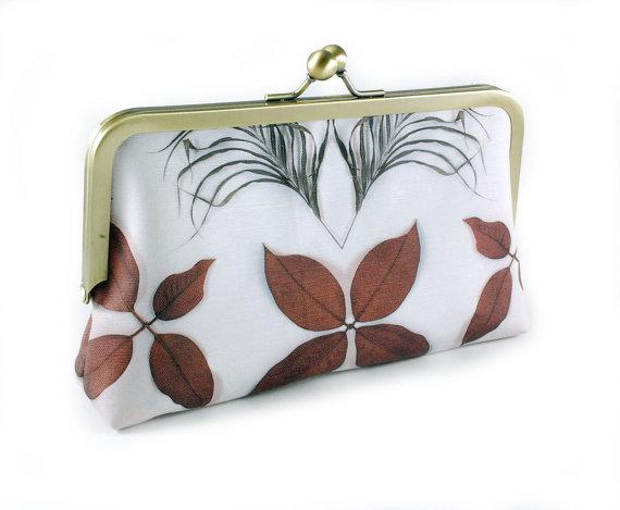 Hochzeit - 8 inch clutch purse frame with botanical print vintage wedding