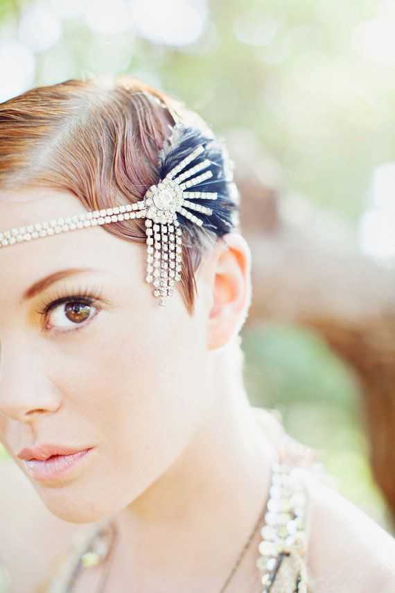 Свадьба - Lucky Stars, Rhinestone And Feather Headpiece