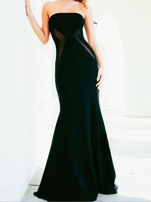 Mariage - Elegant Pure White Strapless High Waist Mesh Spliced Mermaid Maxi Evening Dress
