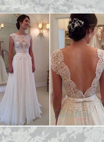 Low V Back Wedding Dresses : Semi sheer lace bodice bateau neck low v back chiffon wedding dress