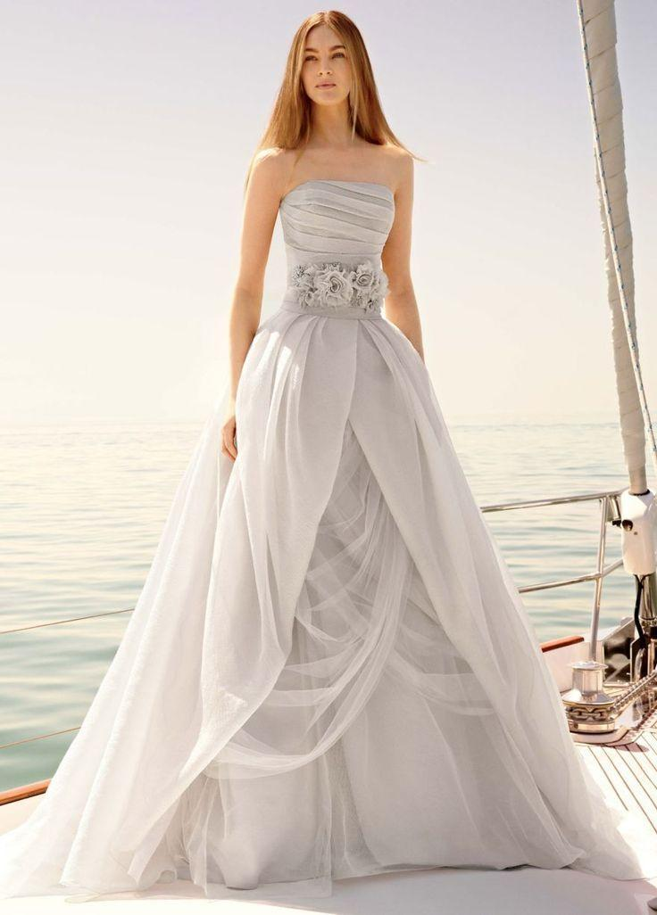 Organza gown with draped bodice and tulle skirt 2238744 for Sheer bodice wedding dress