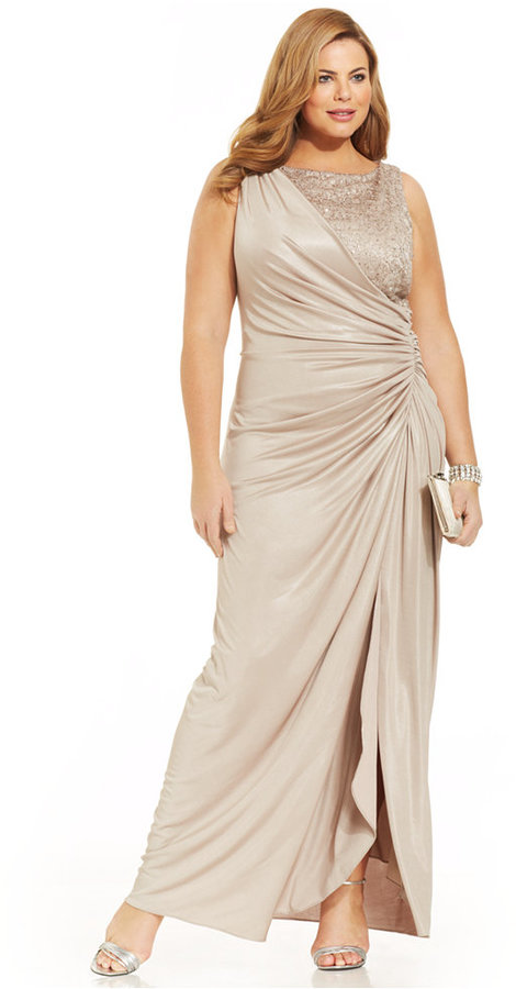 Adrianna Papell Plus Size Draped Metallic Gown 2238844 Weddbook