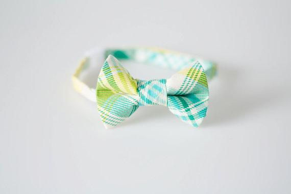 Wedding - Baby Bow Tie - Aqua, Teal, and Yellow Plaid - Boys Bowtie