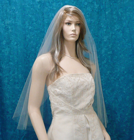 Hochzeit - Super Sheer  One Tier Bridal veil  fingertip length with plain cut raw edge Angel  Cut