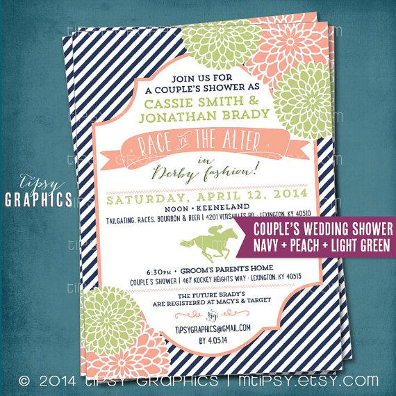 Свадьба - Kentucky Derby Race to the Alter Bridal/Wedding Shower Invitation. Stripes and Mums.  Any text or Colors by Tipsy Graphics