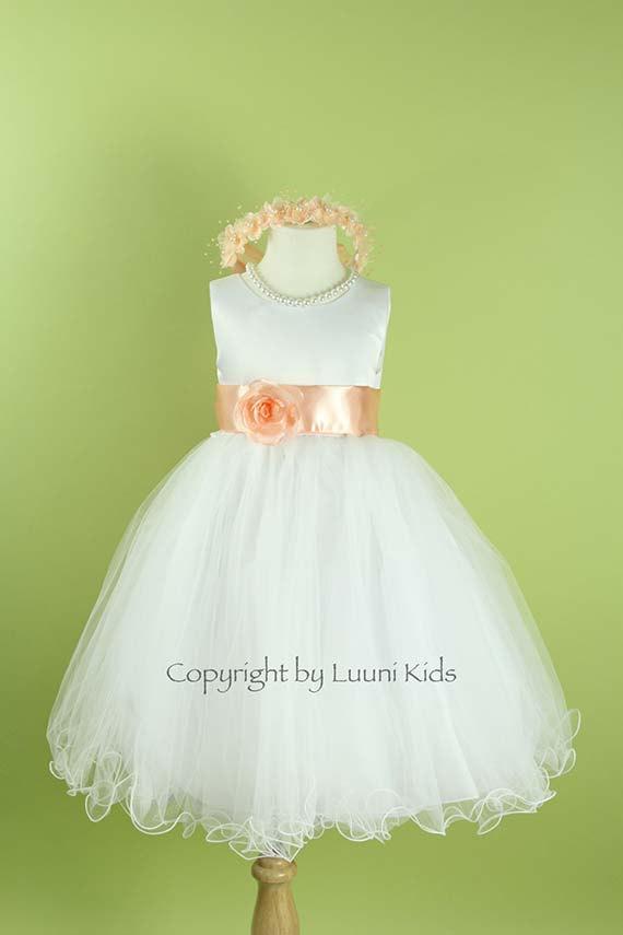 5be2b5fae1 Flower Girl Dress - WHITE Wavy Bottom Dress With PEACH Sash ...