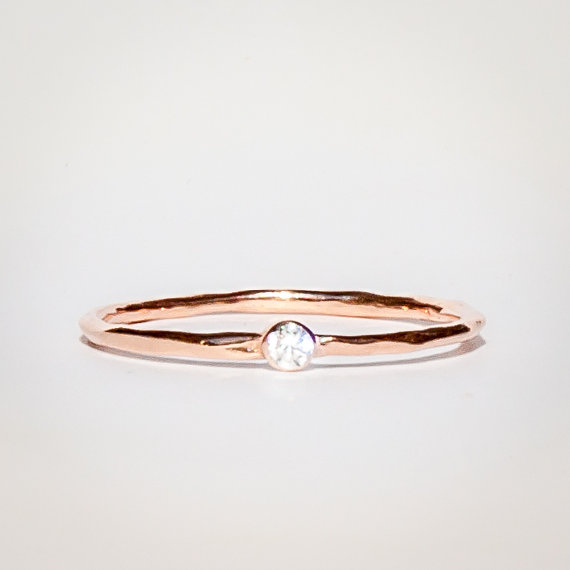 Mariage - Thin Rose Gold Ring -Birthstone Ring - Personalized Bridesmaids Gifts - Stackable Rings Birthstone- Dual Birthstone Ring