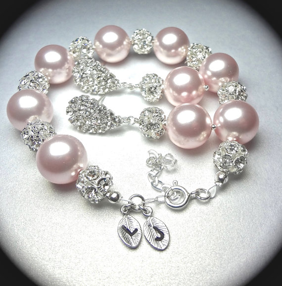 Bridal Jewelry Pearl Bracelet And Earring Set Chunky Rhinestone Fire Personalized Hand Stamped Initials