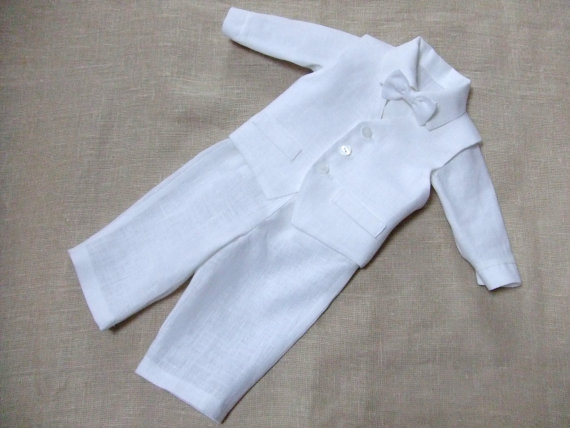 c28175365 Baby boy baptism christening outfit boy ring bearer linen suit first  birthday natural clothes white rustic wedding beach formal SET of 4
