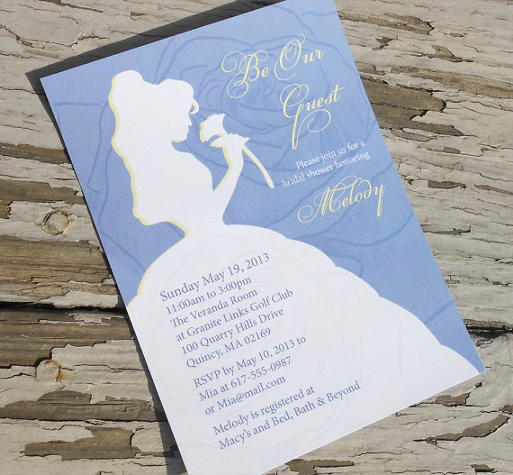 Свадьба - Disney Beauty and the Beast - Belle Bridal Shower Invitation - Custom Printable PDF