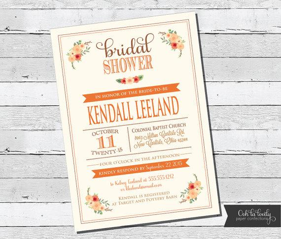 bridal shower invitation fall bridal shower invite bridal luncheon