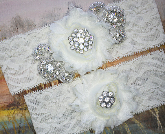 Mariage - MARIELLA - Chiffon Rose Wedding Ivory Lace Garters, Rhinestone Bridal Garter Set, Wedding Garter