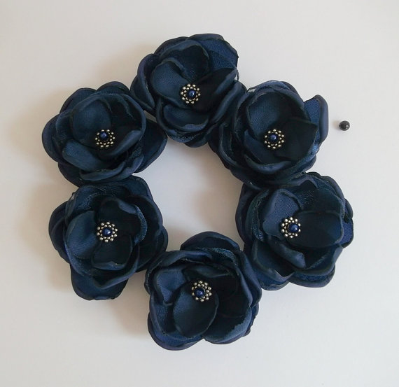 Wedding - Navy Blue small fabric Flower in handmade Weddings Bridal hair shoe clip dress sash accessory brooch Bridesmaids Flower girls Something blue