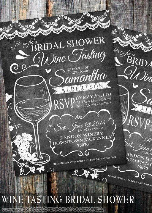 Mariage - Any color Chalkboard Wine Tasting Bridal Shower Invitations - Digital File Printable - Wedding or Bridal Shower Invitations