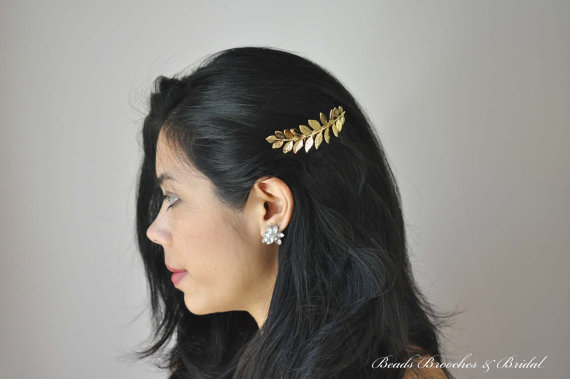 Mariage - Large Gold Plated Leaf Hair Comb,Grecian, Gold Leaf Hair Comb,Wedding Hair Comb,Bridal Hair Comb,Grecian Hair,Laurel Hair Comb, Grecian