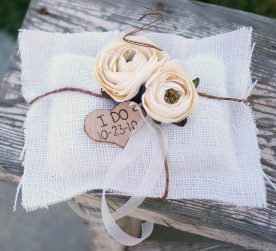 Mariage - Rustic Ring Bearer Pillow Personalized Wood Heart Burlap Roses ranunculus