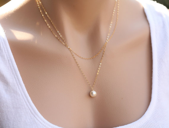 Mariage - Bridesmaid gifts,Double Layered pearl necklace,Wedding Jewelry,Bridal jewelry,Birthday,Mother Gift