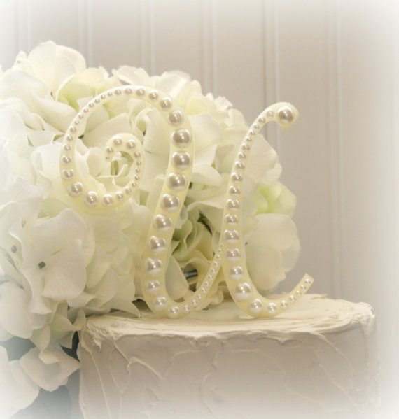 Pearl Monogram Wedding Cake Topper Decorated With Pearls In Any ...