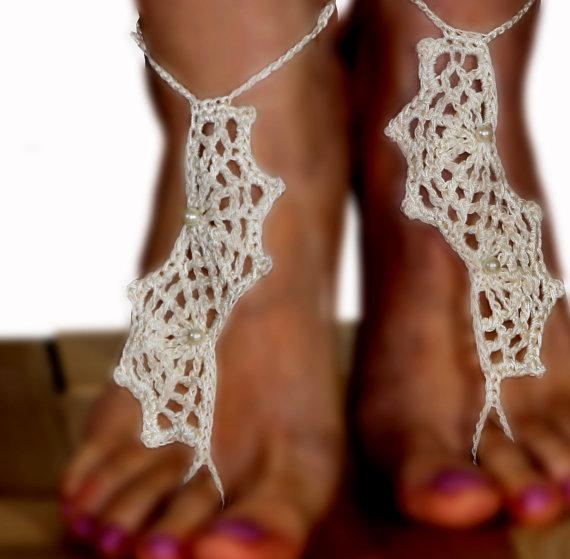 زفاف - Ivory Crochet Barefoot Sandals, Spider web, Nude shoes, Foot jewelry, Wedding, Victorian Lace, Sexy, Yoga, Anklet , Bellydance, Steampunk