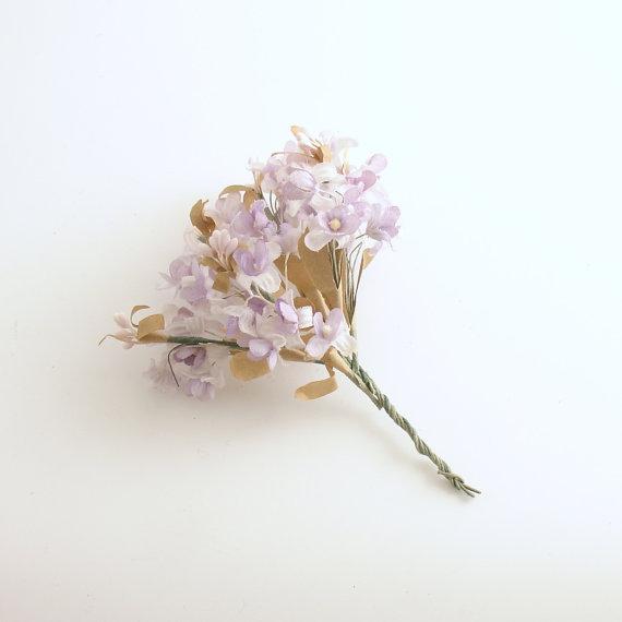 Mariage - Vintage Flower Picks Lavender Corsage Wedding Bouquet Millinery