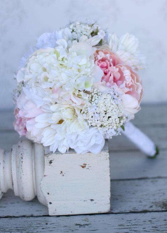 Mariage - Silk Bride Bridesmaid Bouquet Daisies Peonies Roses Rustic Chic Wedding
