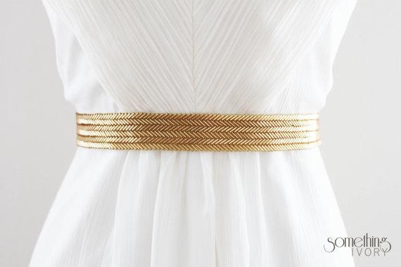 زفاف - MARIANNE - Beaded Gold Wedding Sash, Bridal Belt