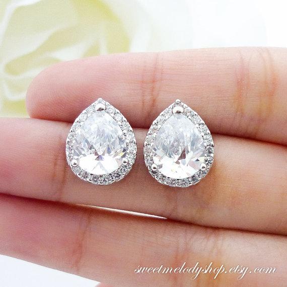 Mariage - Wedding Jewelry Bridesmaid Gift Bridal Earrings Bridesmaid Jewelry Clear White LUX  Cubic Zirconia Teardrop Ear Post Stud Earrings Sterling