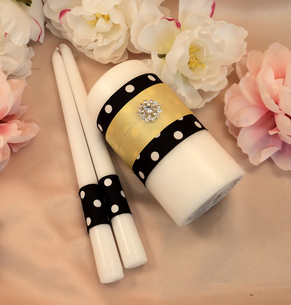 Wedding - Polka Dots Unity Candle 3 Piece Set....You Choose The Ribbon Colors...shown with yellow accent