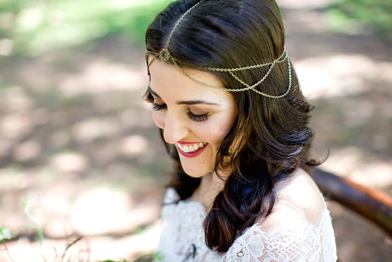 Libby Braided Circle Bronze Wedding Head Chain Head Jewelry Chain