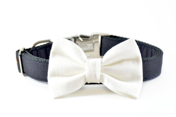 Свадьба - Ivory Linen Dog Bow Tie - Wedding Formal Dog and Cat Off-White Cream Linen Bow Tie