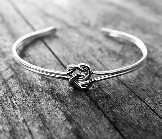 Wedding - Double Love Knot Cuff Bracelet, Sterling Silver Bridesmaid Jewelry, Tie the Knot Bracelet, Celtic knot bracelet, Tie the Knot Bridesmaid