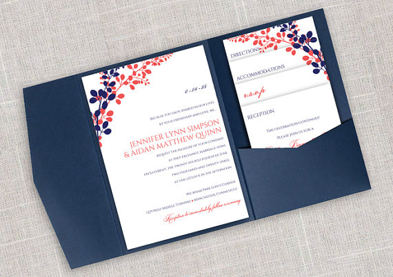 Diy pocket wedding invitation template set instant download editable text exquisite vines navy dk coral microsoft word format