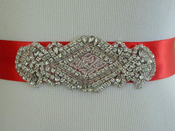 Mariage - Wedding Sash/Belt,Bridal Sash,Rhinestone Sash,Beaded Sash- Red Wedding Sash