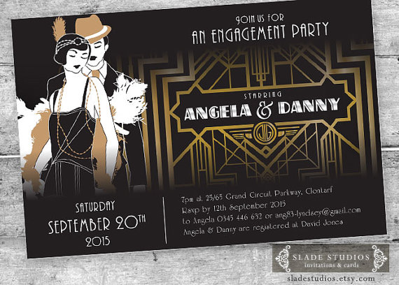 great gatsby engagement party invitations movie poster style printable art deco party invitations - Gatsby Party Invitation