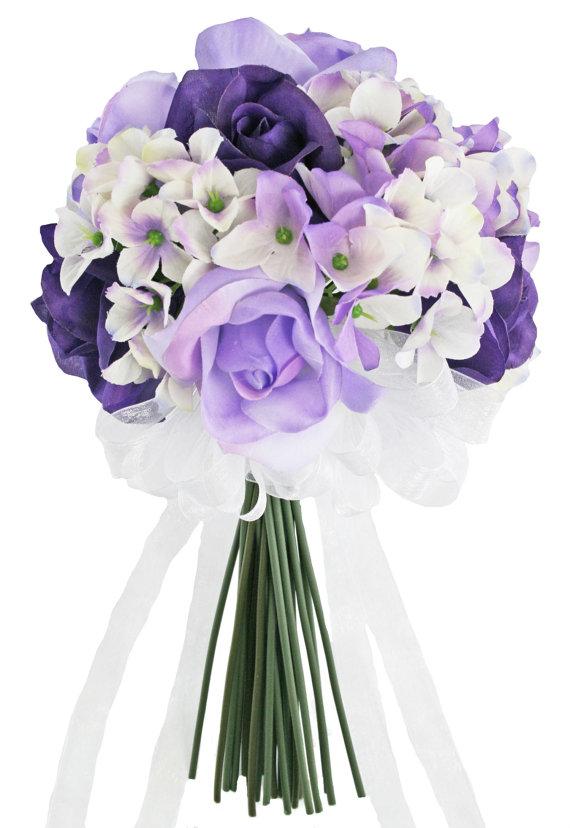 Mariage - Hydrangea Rose Purple Lavender Hand Tie Small - Silk Bridal Wedding Bouquet