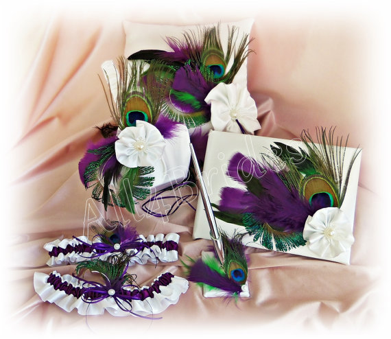 Hochzeit - Peacock Weddings Pillow, Flower Girl Basket, Ring Pillow, Guest Book, Bridal Garters,  Plum Purple and Peacock Featers 6pc set