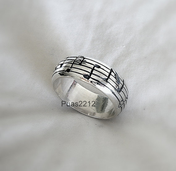 Sterling Silver Pentagram Ring Musical Notes Music Man Woman