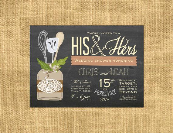 Mariage - His & Hers Couple's Wedding Shower Invitation; Chalkboard, Mason Jar, Lace, Shabby Chic