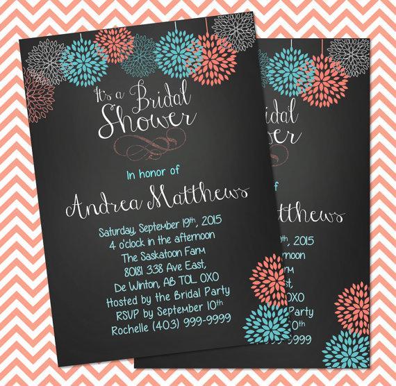Hochzeit - Bridal Shower Invitation, Wedding Shower Invitation, Chalkboard Shower Invitation, DIY, Shower Invite, Wedding Invite, Custom