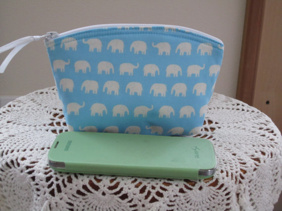 Hochzeit - Tiny Elephants Cosmetic Bag Clutch Zipper Purse   Made in the USA Bridal Wedding