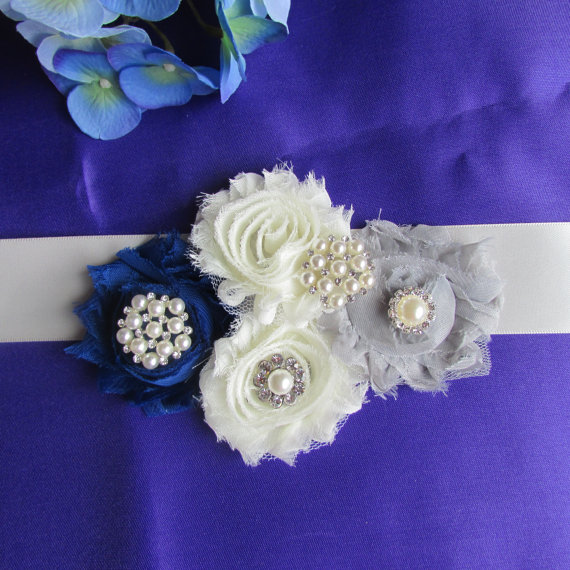 Mariage - SALE Shabby Chic Bridal Sash , Wedding Accessories, Ivory, royal  blue  and gray flowers  Bridal Belt, Bridesmaids