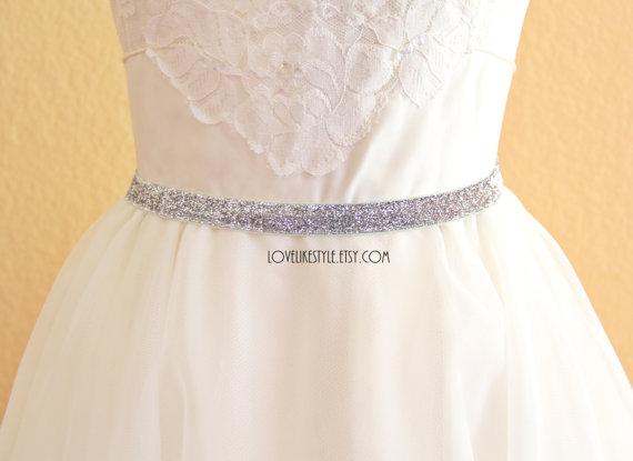 Hochzeit - Skinny Silver Gltter Elastic Lace Belt, Bridal silver belt , Bridesmaid Silver Belt,  Sash Belt