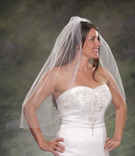 زفاف - 1 Layer Pencil Edge Veils 34 Inches Long Veil Waist Length Wedding Veil 1 Tier White Veil Light Ivory Bridal Veils