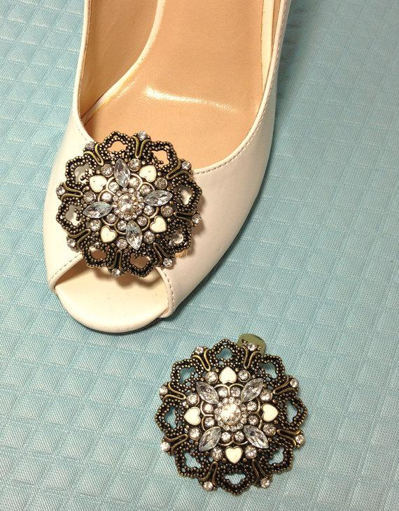 Hochzeit - Large Jeweled Filigree Shoe Clips