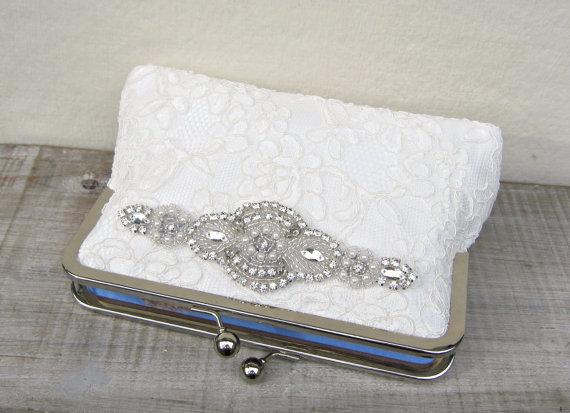 زفاف - Lace clutch, ivory bridal clutch, great gatsby wedding, pearl and rhinestone ivory clutch, off white, rhinestone clutch, bridesmaid clutch