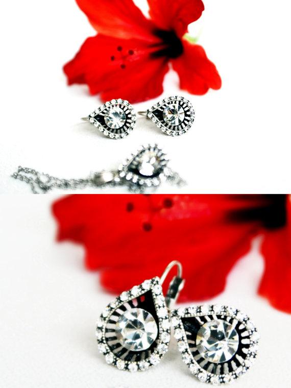 Mariage - teardrop jewelry art deco clear crystal swarovski rhinestone necklace earrings wedding jewelry bridal bridesmaids jewelry mothers day gift